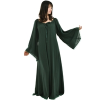 Medieval Vintage Women Robe Ruffled Neckline Long Dress Gothic Lace Up Gown Chemise Garment