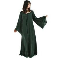 Vintage Gothic Medieval Renaissance Kobiety Suknia Trąbka Rękaw Koronki Wykończenia Długa Bluzka Max Sukienka