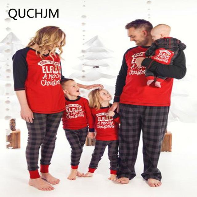 2018 new Family Matching Xmas Pajamas Set Women Kid Dad Adult Christmas Sleepwear Nightwear father mother boy girl clothes