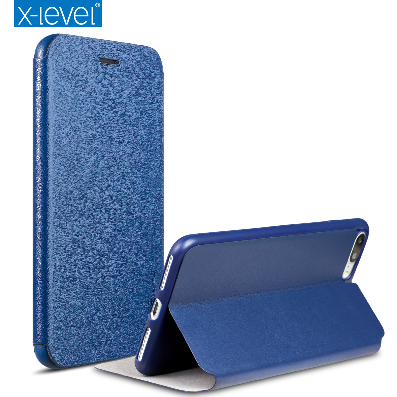 X-Level leather flip case For iPhone 7 7 Plus PU + Soft Tpu protective flip case for iphone 8 8 plus capa with stand function