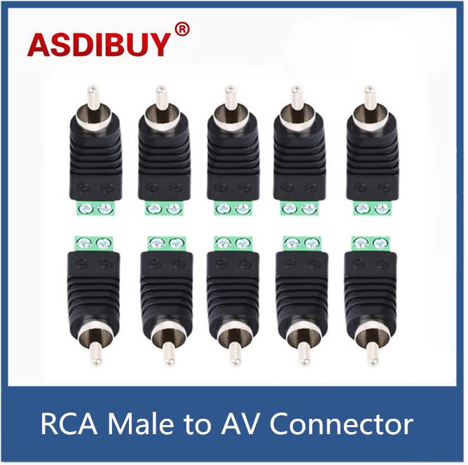 10pcs/lot CCTV/DVR/AV Devices Connector Accessories Phono RCA Male Plug to AV Screw Terminal Block Connector kit Tools 3pcs lot cctv phono rca male plug to av terminal connector video av balun international standard