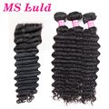 Ms Lula hair Free Shipping Indian virgin hair deep wave 3pcs hair bundles with 1pc 4X4 no smell shedding and tangle free