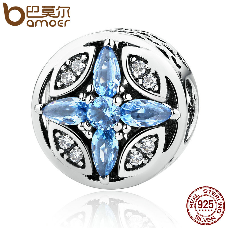 BAMOER Classic 925 Sterling Silver Shopping Blue Round Beads Charms Fit Bracelets Bangles Jewelry Accessories PAS398