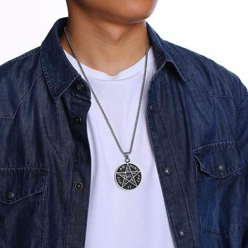 Vnox Tetragrammaton naszyjniki dla mężczyzn stal nierdzewna Pentagram salomona wisiorek nazwa boga kołnierz biżuteria męska