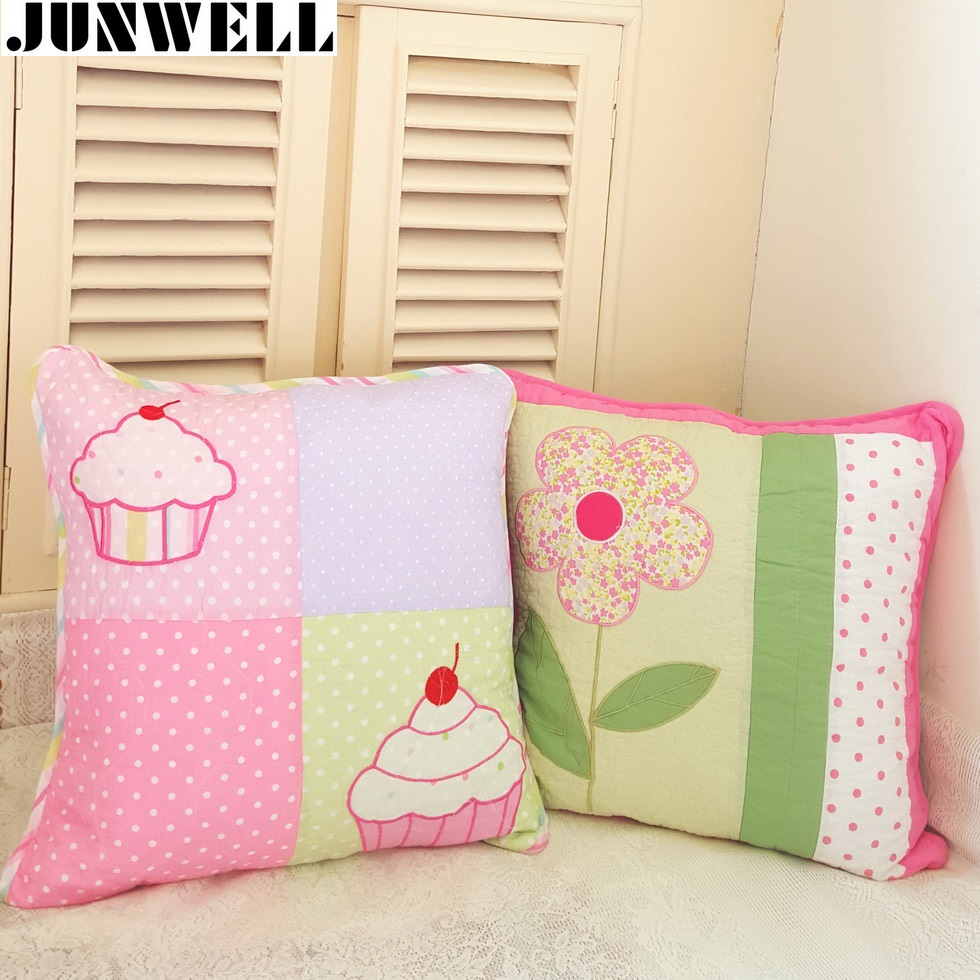 100% Cotton Quilted Cushion Cartoon Applique Embroidery Throw <font><b>Pillow</b></font> Sofa Office Back Cushion Baby Room <font><b>Decorative</b></font> <font><b>50X50CM</b></font> Sq. image