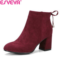 ESVEVA 2018 Short Plush Women Boots Flock Round Toe Square High Heels Autumn Spring Ankle Boots Ladies Solid Boots Size 34-43