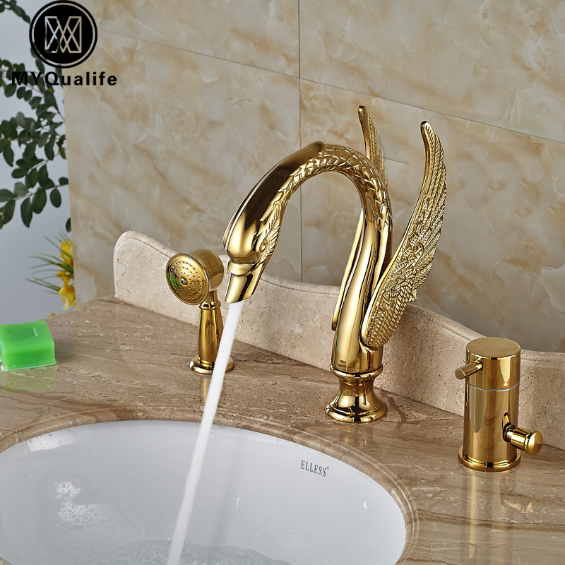 Widespread 3pcs Bathtub Faucet Swan Style Deck Mount Golden Bathroom Tub Mixer with Handshower