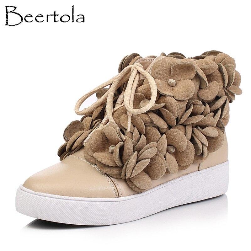 Botas Redondo Zapatos Beertola Negro Mujer Picture Del Picture Albaricoque Hechas as Pisos Cuero Dedo Mano A Nuevas As Pie Flores Calidad Top De Acogedor Fpw7q4p5