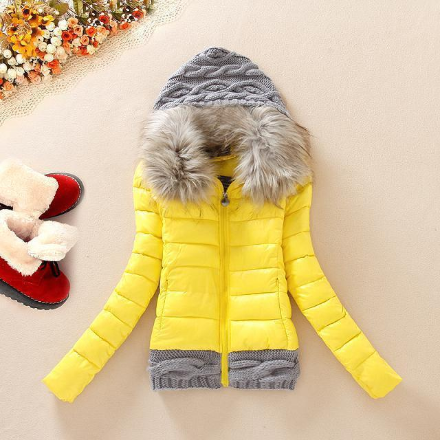 2015 New Women Winter Thickening With Hood Short Design Wadded Jacket Large Fur Collar Jacket Cotton -Padded Outerwear 2015 new mori girl medium long thickening with a hood color block decoration cotton padded jacket wadded jacket