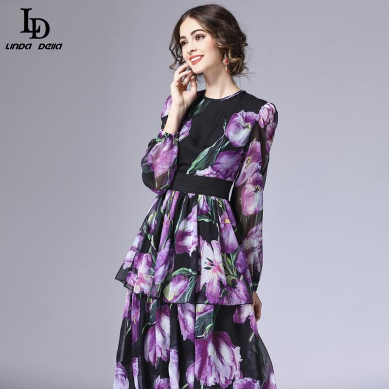LD LINDA DELLA printemps nouvelle mode piste Maxi robe femmes à manches longues Vintage à niveaux tulipe Floral imprimé longue robe - 5