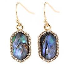 New Arrival Small Oval Resin Dangle Earrings Abalone Pave Stone Drop Earrings For Women Earrings Fashion Jewelry