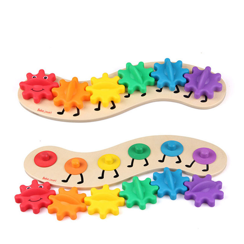 Montessori Toys Cute Gear Caterpillar Puzzle Kids Educational Wooden Toys Baby Children Training Science Worm Toys CD1365H dayan gem vi cube speed puzzle magic cubes educational game toys gift for children kids grownups