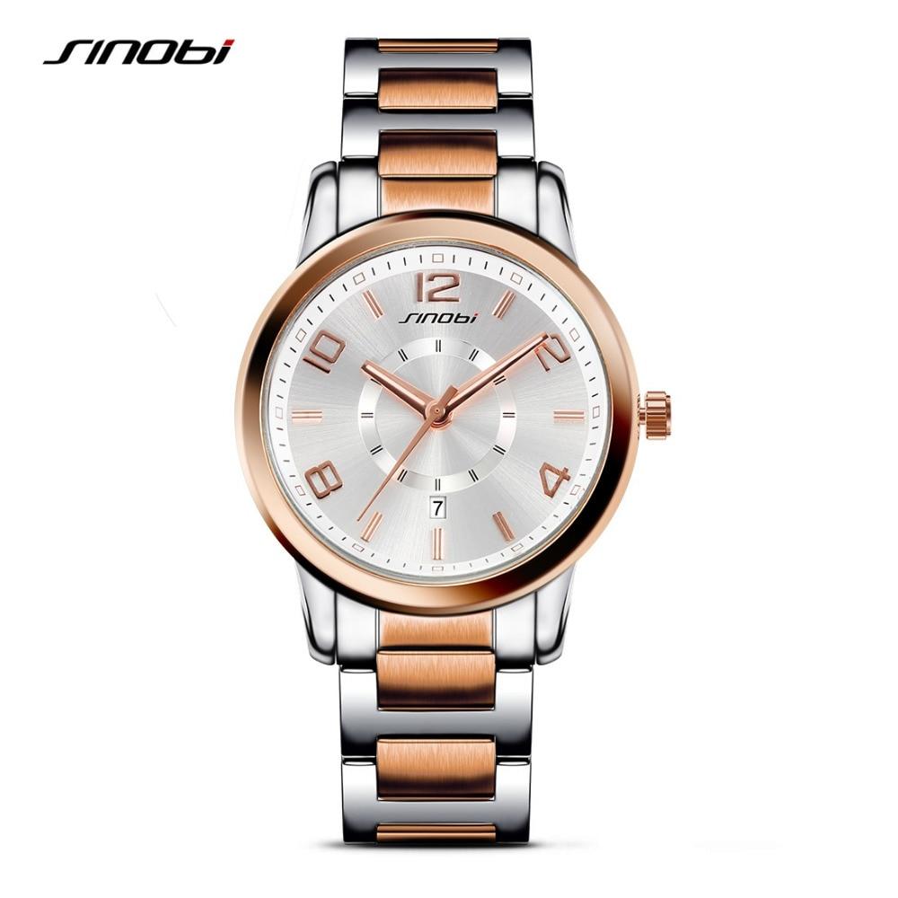 SINOBI Men Wrist Watches Top Luxury Brand Steel Watchband Casual Males Waterproof Quartz Clock Fashion Golden Erkek Saatler 2016