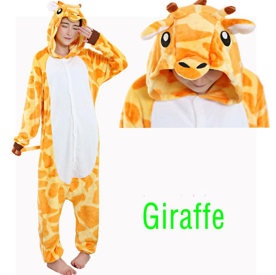 Flannel Giraffe Pajamas New Couple Winter cute soft Giraffe Onesies