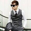 Cinza Mens Colete Colete Dupla Breasted Fino Vestido de Colete Para Homem Roupas Jaqueta de Terno Formal Do Vintage Estilo Coreano Preto