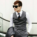 Grey Waistcoat Mens Double Breasted Vest Slim Dress Vest For Man Formal Vintage Suit Korean Style Black Jacket Clothing