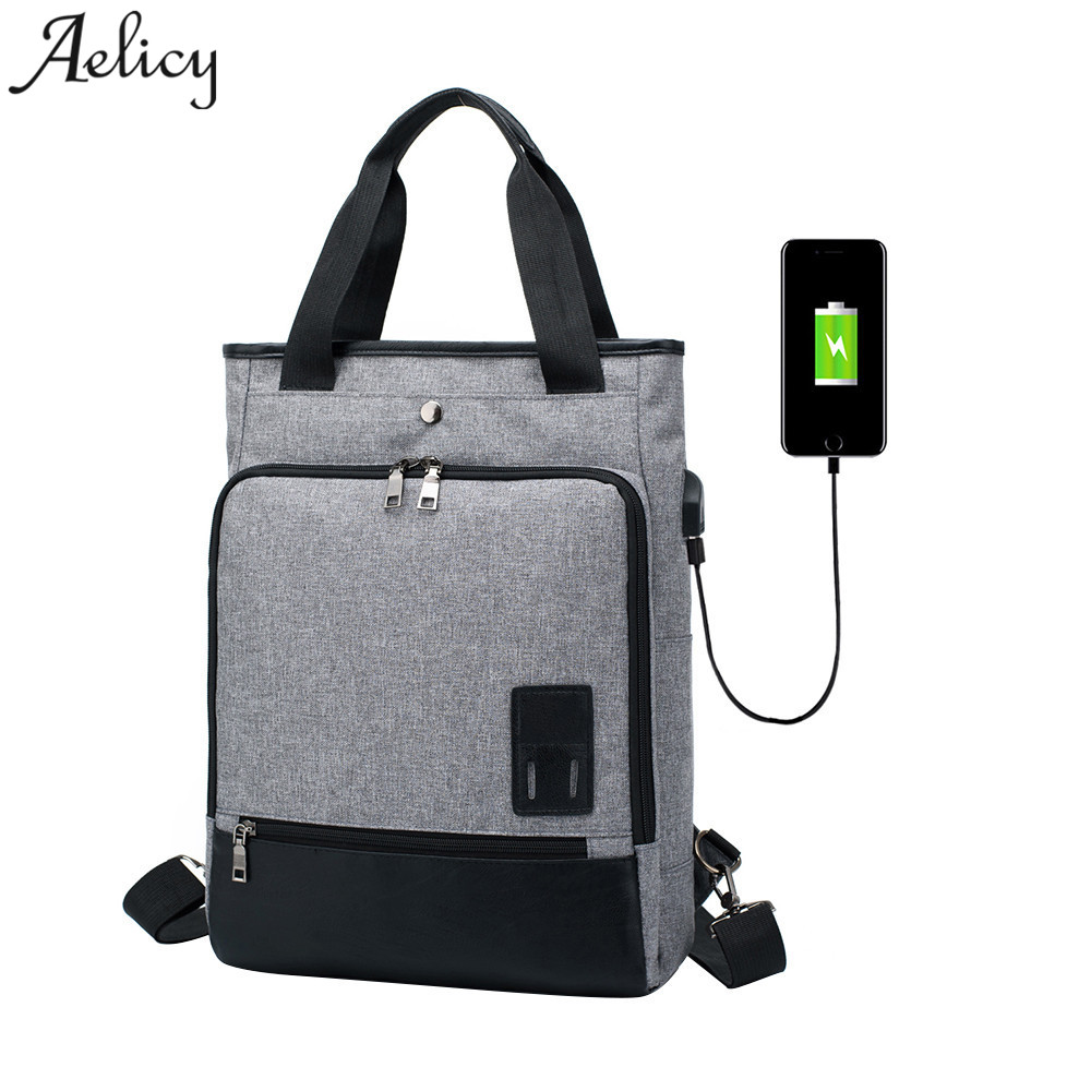 Aelicy New Men USB Backpack Canavs Travel Backpack Fashion Large Capacity Bag Anti theft ...