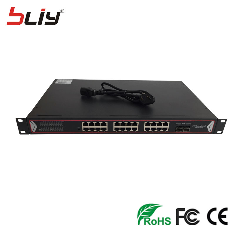 POE Network Switch Original Manufacturer sfp to RJ45 Gigabit Ethernet Network POE Switch with 24 Port POE and 2 SFP 1u chassis 16 port poe switch 2ch gigabit uplink network ethernet with 1 port 1000m sfp slot