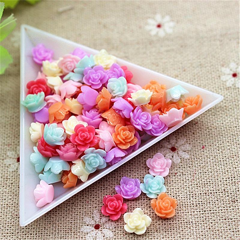 Mix Colors 100pcs 8mm Cute Resin Little Flower Flatback Cabochon DIY Nail Beauty Scrapbooking Decorative Craft Making