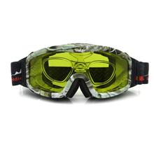 Night Vision Ski Goggles, Cloudy Day Snowboard Sunglasses, Yellow or Plano Lens Hunting Goggles, Anti-fog with RX Insert & Bag
