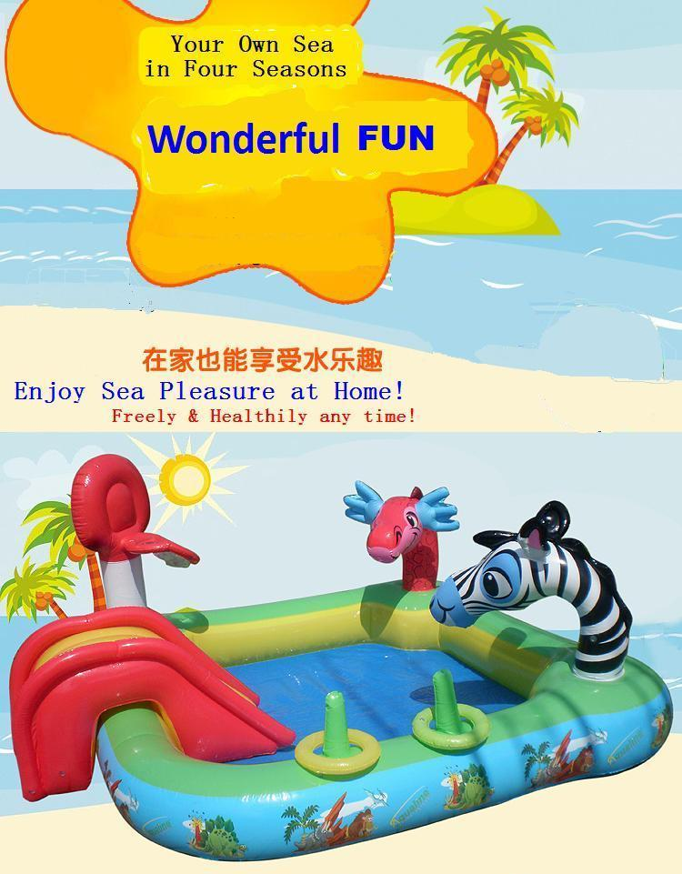 8012 100% nontoxic odorless to US Multifunction Inflatable Paddling Pool/Child's Swimming Pool with spraying cartoon animals commercial sea inflatable blue water slide with pool and arch for kids
