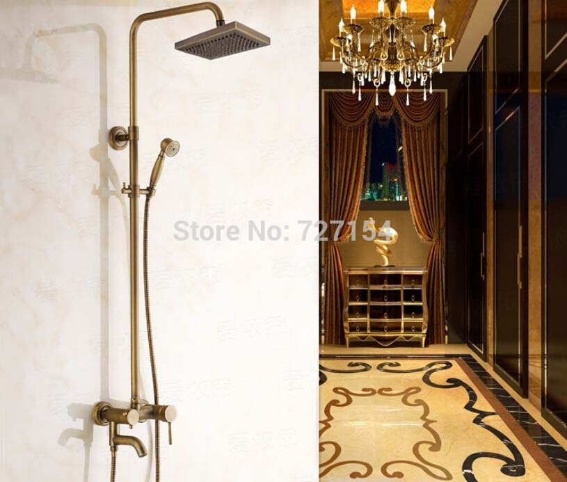 New 8Square Shower Head Antique Brass Shower Faucet 360 Degree Swivel Tub Mixer