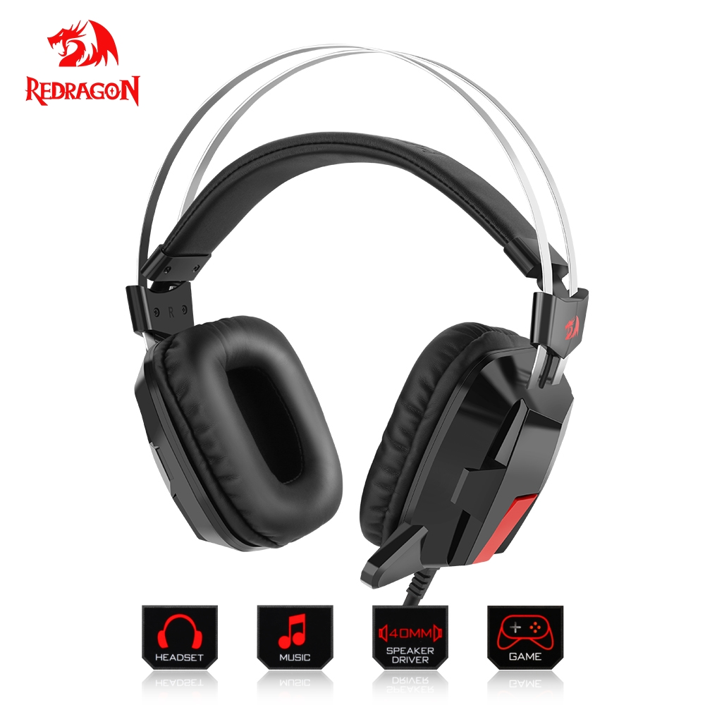 Redragon H201-1 Gaming Headphones Headset Deep Bass Stereo wired gamer Earphone Microphone for phone PC Laptop computer soyto c830 wired gaming headset deep bass game earphone computer headphones with microphone led light headphones for computer pc