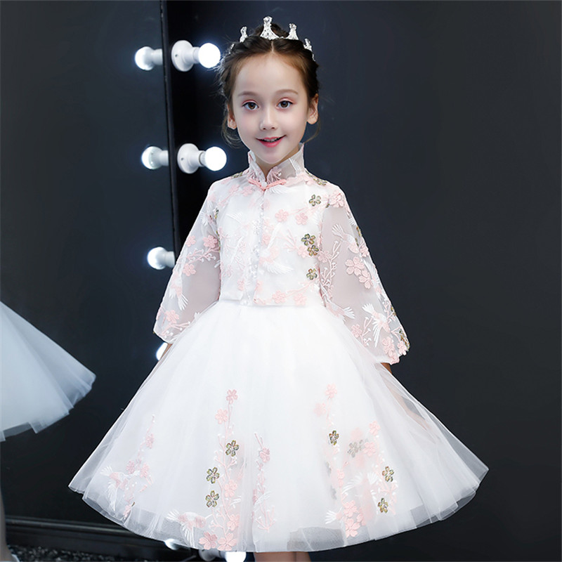 2018 Autumn Winter New Children Girls Birthday Wedding Party Princess Flowers Prom Dress Teens Kids Luxury Piano Host Mesh Dress жакет gerry weber жакет
