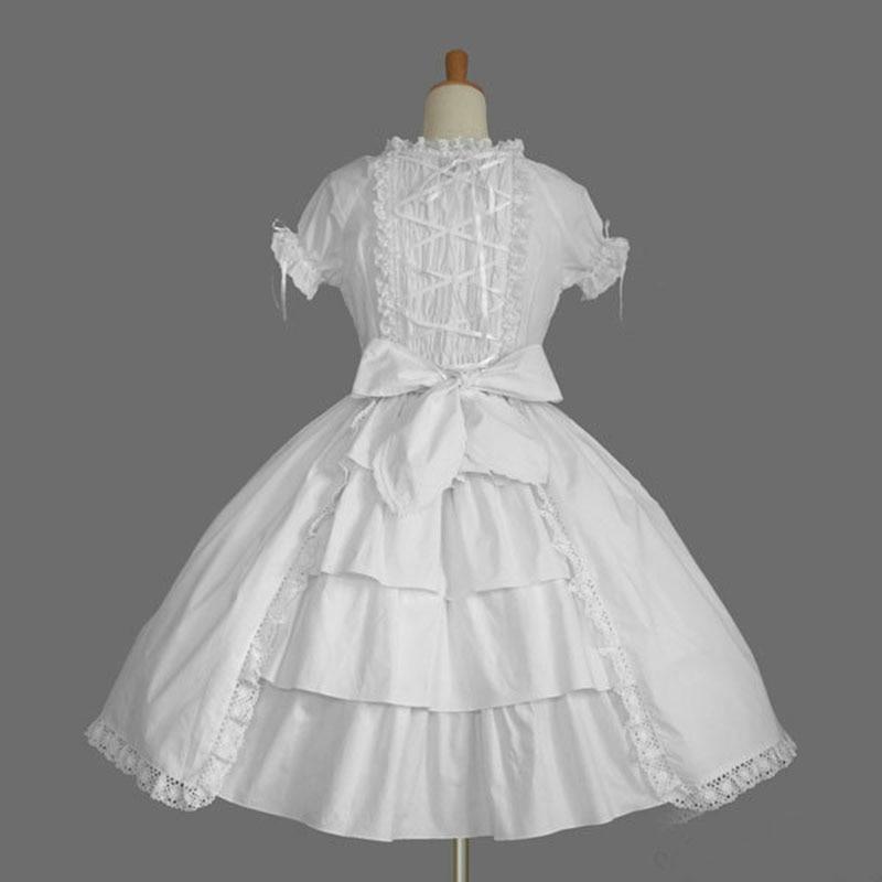 18e Eeuw Zoete Lolita Jurken Korte Mouw Wit En Zwart Katoen Boog Cosplay Baljurken Kostuum Voor Meisje Elegant In Stijl