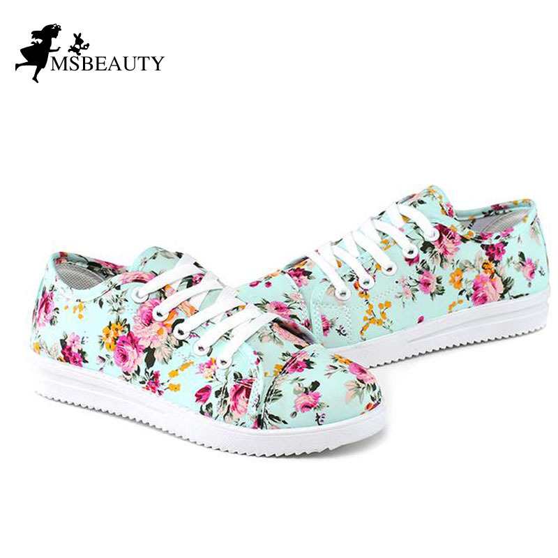 Fashion canvas shoes Floral Print Women Causal Shoes Zapatos Mujer floral Canvas flats 5c288 - Msbeauty store