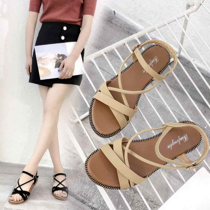 0b11c42a88fd SAGACE Shoes Sandals Women Fashion Solid Cross Tied Round Toe Flat Heel  Rome Shoes Casual Sandals