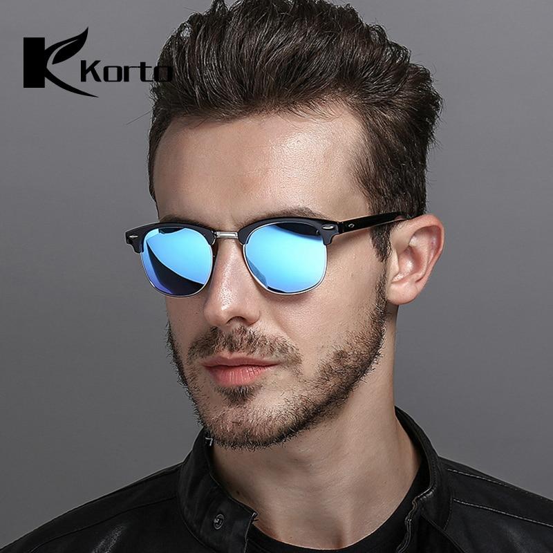 Polarisées Corne Cerclées Demi-Trame Lunettes de Soleil pour Hommes Semi  Sans Monture Femmes lunettes 528840609963