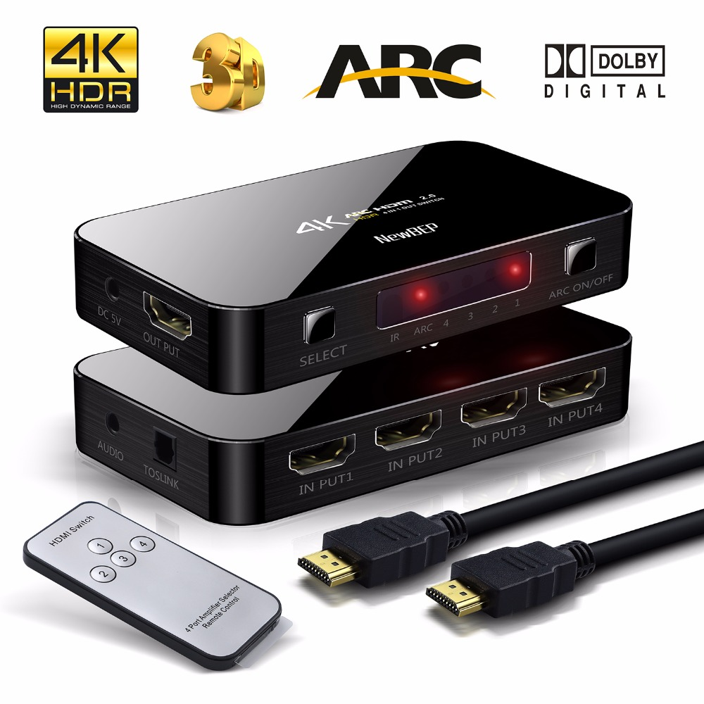 NewBEP 4X1 HDMI Switch 4Kx2K HDMI Switcher Audio Cable Splitter With IR Remote USB Cable Power Supply Support ARC 3D 1080P full 1080p hdmi 4x1 multi viewer with hdmi switcher perfect quad screen real time drop shipping 1108