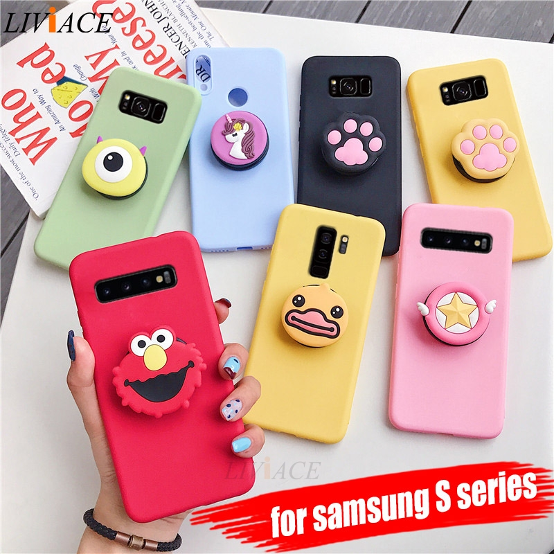 3D silicone cartoon phone holder case for samsung galaxy s10 5g s10e s9 s8 plus s7 s6 edge cute stand soft back cover coque Пенал