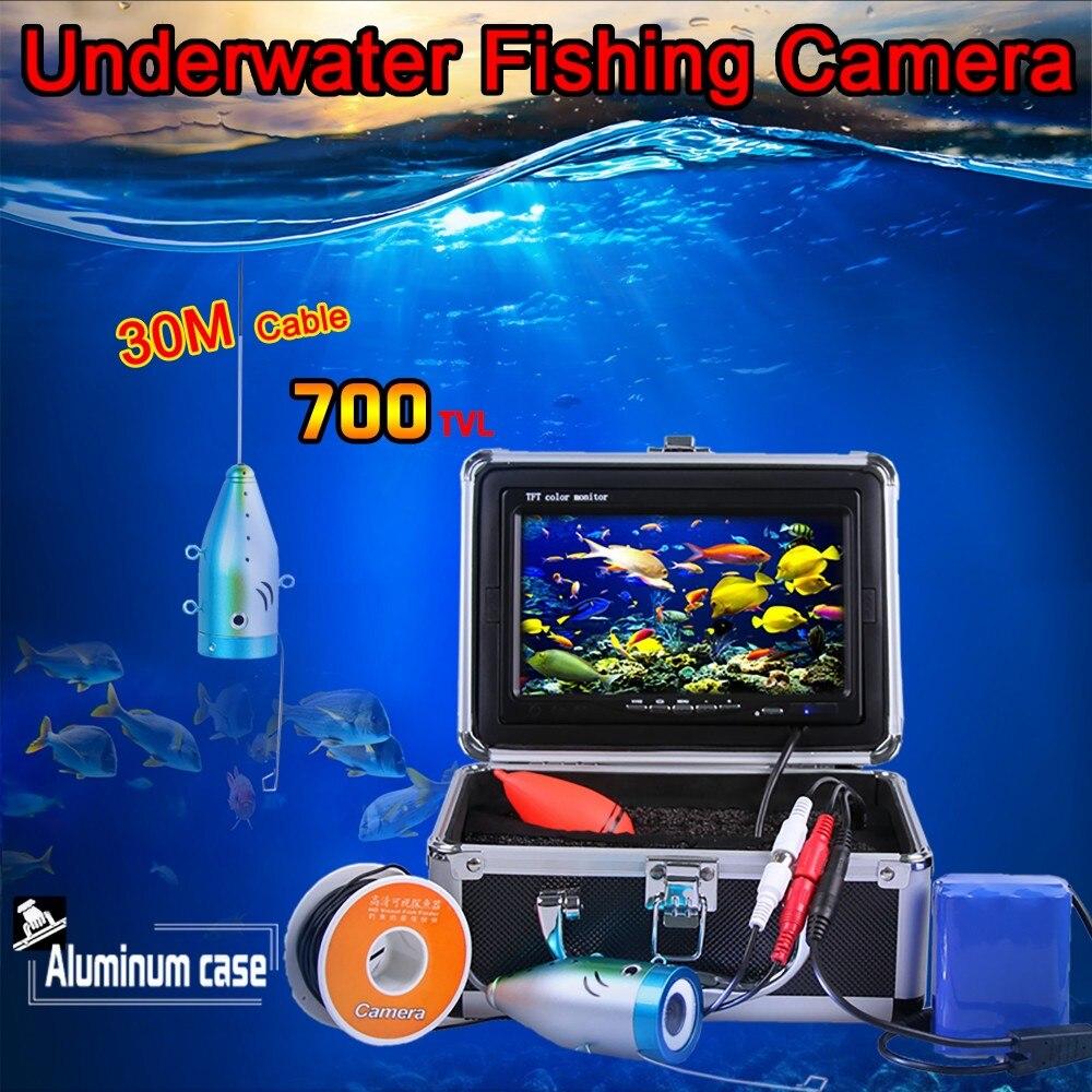 Câble de 30 mètres de profondeur de Super Mini caméra sous-marine 700TVL avec LED blanche 8 pièces et moniteur LCD numérique 3.5