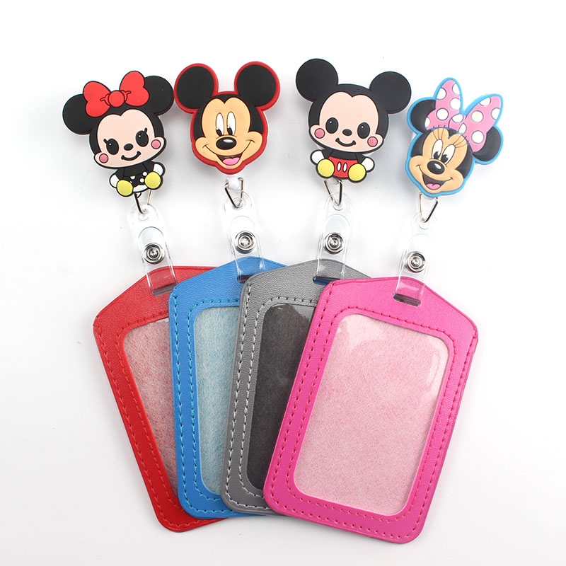 1 Pcs  New Cartoon Mickey Retractable Badge Reel Vertical Style Student Nurse Worker ID Name Card Badge Holder Office Supplies