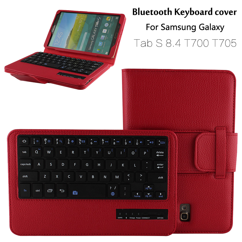 For Samsung Galaxy Tab S 8.4 T700 T705 Removable Wireless Bluetooth Keyboard Portfolio Folio PU Leather Case Cover + Gift removable bluetooth keyboard pu leather cover case