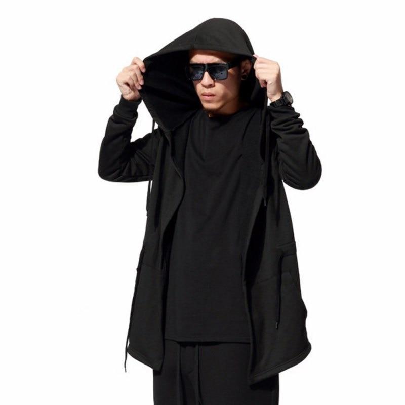 Autumn Winter Men's Fashion Black Cloak Hooded Male Streetwear Hip Hop Long Hoodies Clothing Men Outerwear Cool Man DR4