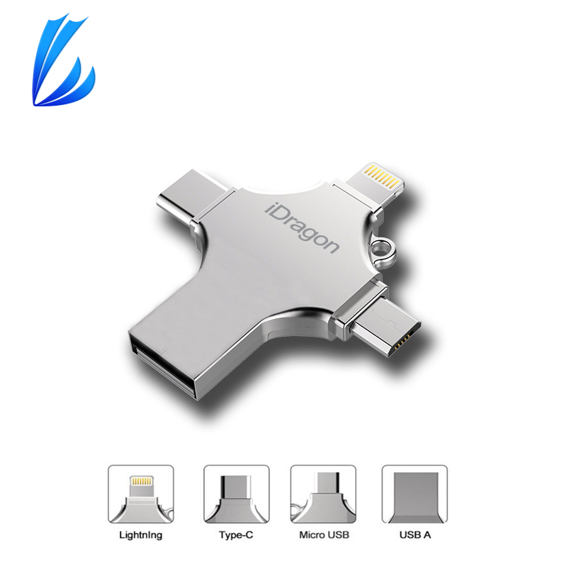 LL TRADER Pendrive USB Flash Drive 32 64GB For iPhone Android Type-C PC Flash Drive iOS Memory Storage OTG USB Key Pen Stick