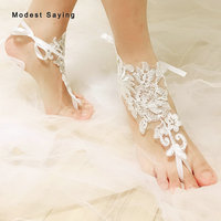 Real Delicate Ivory Lace Bridal Barefoot Sandals 2019 Fashion Anklet Shoes Leg Chain Beach Ankle Bracelets Wedding Accessories