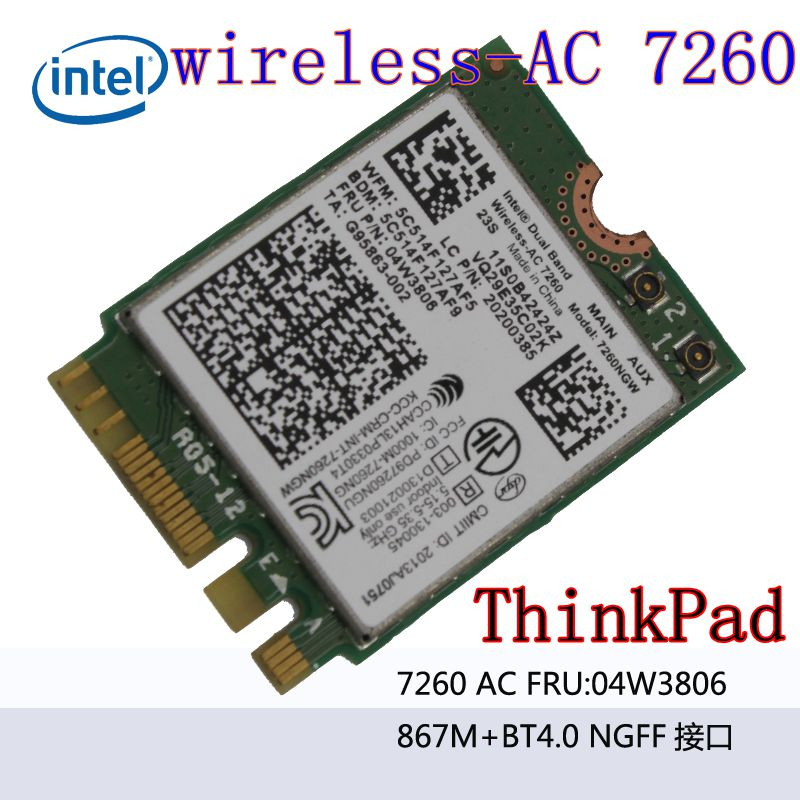 7260NGW Dual Band 2.4/5.0 GHZ 802.11ac WirelessAC 7260 Bluetooth 4.0 NGFF 04W3806 Linux/Win7/Win8/Win10 T440 T440S X240S