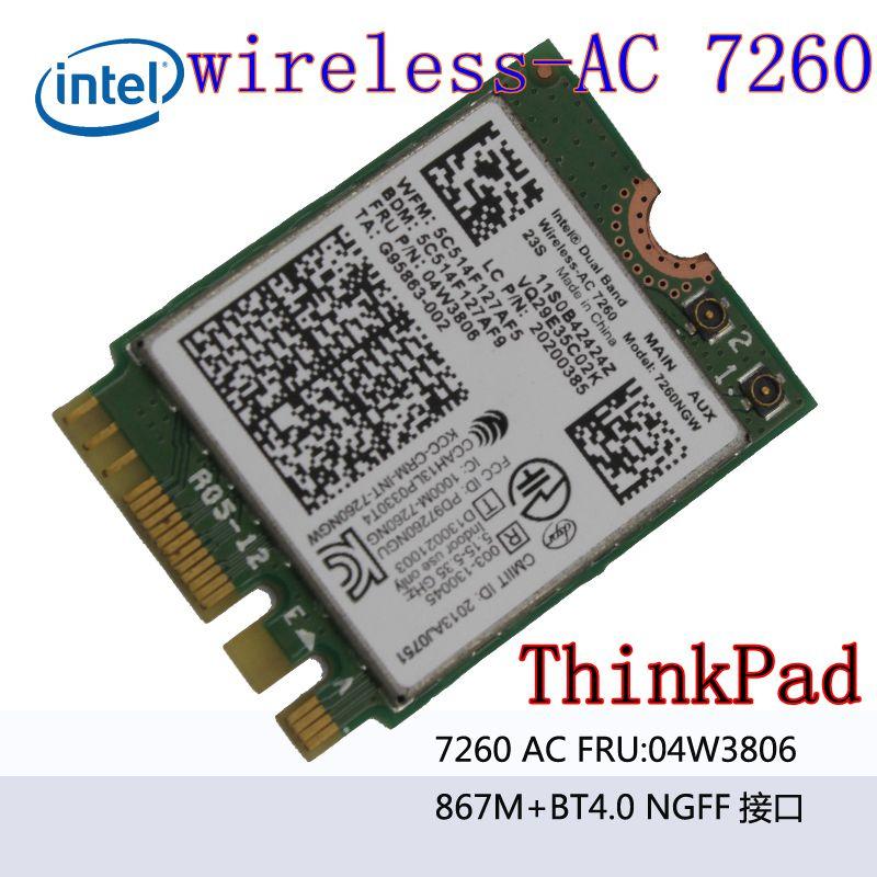 7260NGW Dual Band 2.4 / 5.0 GHZ 802.11ac WirelessAC 7260 Bluetooth 4.0 NGFF 04W3806 Linux / Win7 / Win8 / Win10 T440S X240S