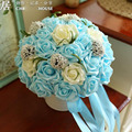 Free Shipping Beautiful Handmade Flowers Decorative Artificial Rose Flowers Pearls Four Color Rose Pearls Wedding Bouquet