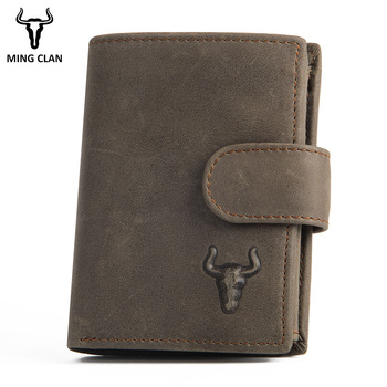 Mingclan Short Men Wallets Genuine Leather Wallet Men Clutch Bag Coin Purse Card Holder Zipper Hasp Male Wallet Rfid Pocket vintage rfid wallets 100% genuine leather men short wallet for cards male coin purse card holder pocket double zipper design