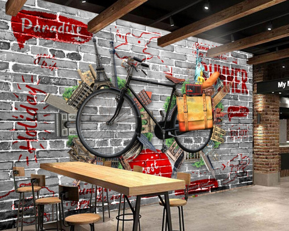 Free Shipping Retro Vintage Bicycle Bar KTV Wall Custom 3D Living Room Bedroom Wallpaper Hotel Decorative Mural with Good Price free shipping european painting body art wedding room bedroom hotel sauna ktv large mural wallpaper