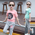 Kids Girls Clothing Sets Summer 2016 Girls Clothes Suits 2 Pcs Casual Cotton Short Sleeves T-shirt & Capri Pants Set Pink Blue