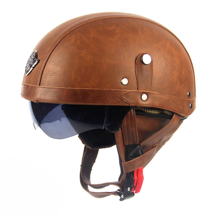 Free shipping 1pcs Motorcycle Motorbike Rider Half Open Face PU Leather Helmet Visor With Collar