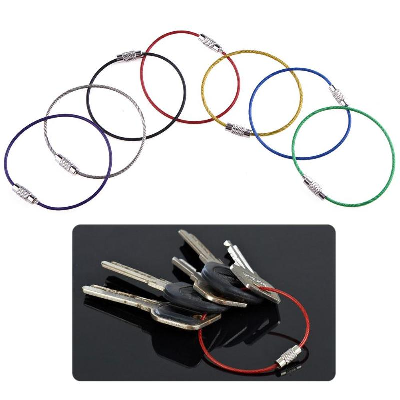 7pcs Metal Stainless Steel Wire Ropes Carabiner  Wire Ring Rainbow Color Key Hanging  Ring Cables EDC Tool Hanging Buckle 7pcs Metal Stainless Steel Wire Ropes Carabiner  Wire Ring Rainbow Color Key Hanging  Ring Cables EDC Tool Hanging Buckle