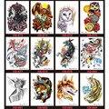 12 pcs Tatuagem Temporária Adesivo Arte Do Corpo À Prova D' Água Flash de Transferência Falso Henna Tatouage Maquiagem Maquiagem Removível Animal Deaign