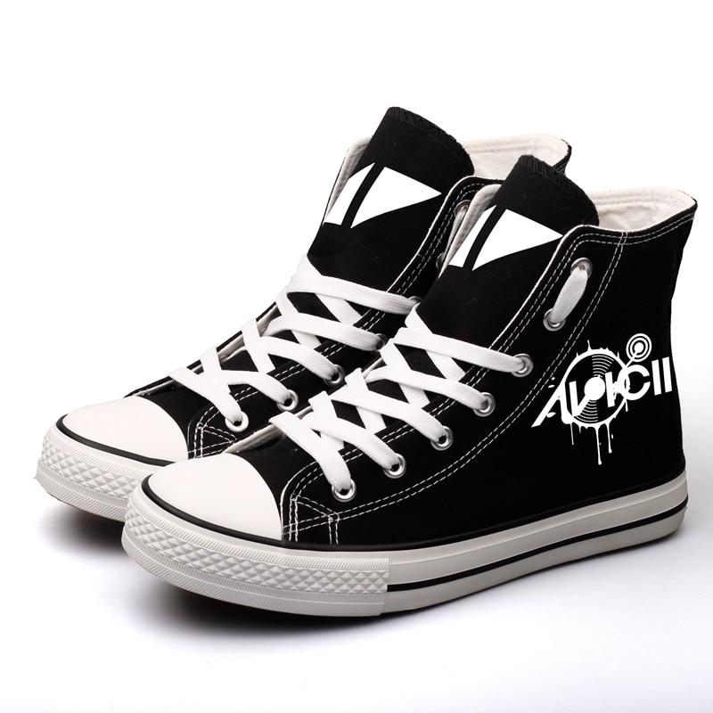 0d28148a57a8 E-LOV Hip Hop DJ Stars Printed Canvas Shoes Custom Women Platform Shoe  Tenis Espadrilles Graffiti Rock Star Fashion Flat Shoes